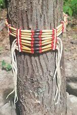 choker, antique hair pipe, buffalo horn, white heart beads