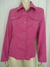 CHICOS Shirt 1 Texture Embossed Stretch Cotton Blend Jean Style Button Front Top