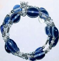 Memory Wire Bracelet with Purple Glass Beads  Charms on ends FREE SHIPPING