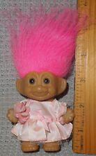 "3"" Russ troll girl, pink party dress, good hair ~ Very GOOD ~ NO-RIP Ship"
