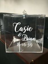 Personalized Wedding Card Box Gift Acrylic Name Sticker Lock Party Donation Box