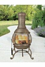 Garden Chiminea Mesh Bronze Steel Garden Heater