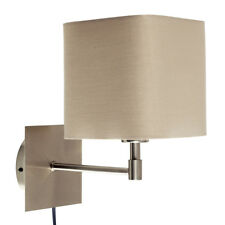Brushed Chrome Wall Light Square Mink Fabric Shade Plug  Switch Lampshade Home