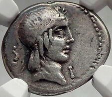 Roman Republic Rome 90BC Rome Apollo Horse Racing Ancient Silver Coin NGC i61953
