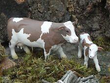 "Simmental Cow and Calf Figurines for 3.5"" Nativity Farm Pesebre  Schleich Vaca"