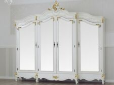 Wardrobe Julian Decape Baroque style ivory and gold leaf 4 doors 4 mirrors 2 dra