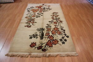 "Hand-Made Vintage Turkish Area Rug 4'10"" X 8'5"" Area Rug"