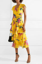 ETRO New Ruffled floral Lily silk crepe de chine midi dress $2440, sz 40IT 2/4US