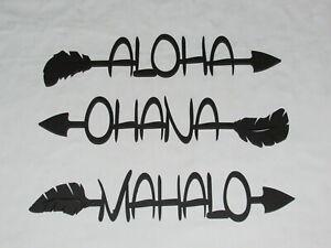 Aloha Ohana Mahalo Wall Word Arrows Set Of 3 Wood Wall Sign Home Decor