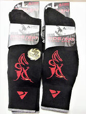 CABOT & SONS Ride/Ski Merino Wool Socks with Shin Pads, BLACK with Red, NEW x 2