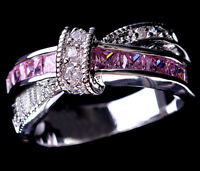 Size 5-10 Pink Sapphire CZ Cross Ring 10KT White Gold Filled Wedding&Engagement