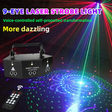 New Remote 9-EYE RGB DMX Scan Projector Laser LED Strobe DJ Party Stage Lighting