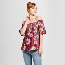 NEW Women's Smocked Off the Shoulder Top  Xhilaration Size L Flower