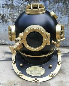 Antique Diving Helmet U.S Navy Mark V Solid Metal 18 Inch Size Divers Helmet