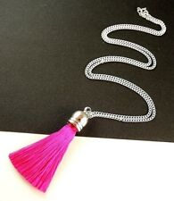 1 Dark Pink Bohemian Style Polyester Tassel Dangle Necklace/Pendant - #545