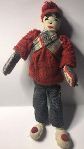 "10"" Folk Art  red/ black doll"