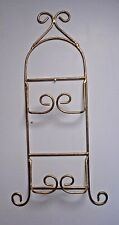 Wrought Iron double Plate display Rack wall hanging gold tone scroll design