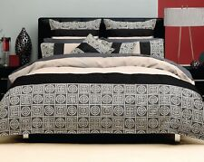 New LOGAN & MASON Milano Linen Black Padded QUEEN Quilt Cover Set RRP $199.95