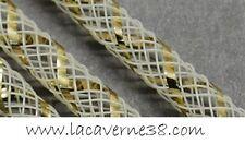 2 m Tube Résille Tubulaire 8 mm blanc  fil lurex doré création bijoux bracelet