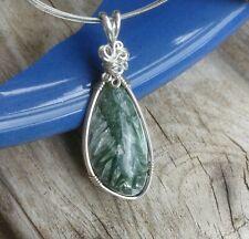 Seraphinite Sterling Silver Wire Handmade Chakra Reiki Healing Pendant Jewelry