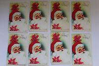8 Vintage NOS Christmas Greeting Cards With Envelopes Unused - Santa Motif