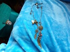 UBER LONG NATIVE AMERICAN STYLE CHARM DROP OASIS BRAND  NECKLACE -76-78