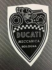 1 Stickers Scudetto DUCATI Meccanica Vintage Silver & Black 3D resinato 100 mm