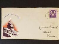 1943 Zanesville Ohio to Upland Pennsylvania US White House WWII Patriotic Cover