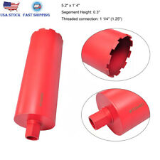 """5.2"""" x 1'4"""" Dry and Wet Diamond Core Drill Bit 1.25"""" Threaded Connection Durable"""