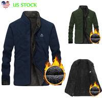 US Men Zip Up Thick Thermal Fleece Jacket Outdoor Riding Climbing Windproof Coat