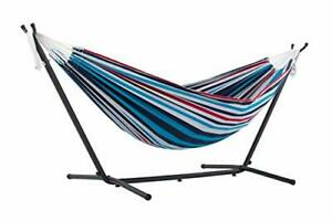 Vivere, Denim Double Cotton Hammock with Space-Saving Steel Stand including