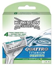 WILKINSON SWORD QUATTRO Titanium Sensitive Razor Blades 8 Pack  With Aloe