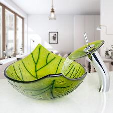 US Oval Green Leaf Glass Wash Basin Bathroom Vessel Sinks Waterfall Faucet  Drain