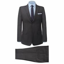 Men's 2 Piece Business Suit Jacket Trousers Formal Casual Striped Grey Size 48