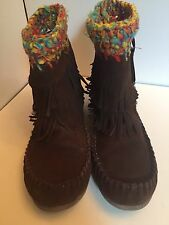 Steve Madden Women's Sparrow Ankle Boot Tobacco Brown Fringe Booties So 7.5
