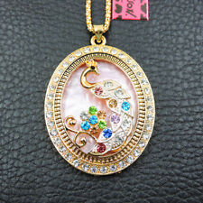 New Women's Colorful Crystal Enamel Peacock Pendant Betsey Johnson Necklace