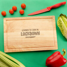 """""""Learned To Cook In Lockdown"""" Wooden Cutting Board - Funny Self Isolation Gifts"""