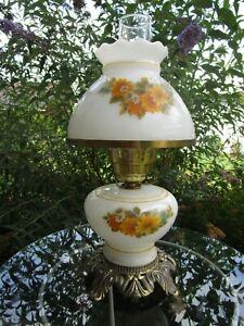 Vintage Hurricane Lamp Milk Glass hand painted