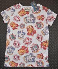 Primark HARRY POTTER T Shirt Womens Ladies House Crest White UK Sizes 4-20 NEW