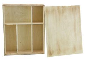 Holzbox mit Schiebedeckel & 5 Fächer - geflammte Optik - Holzkiste Geschenkbox