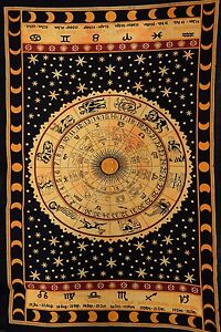 Celestial Sun & Moon Tapestries Zodiac Sign Wall Hanging Boho Hippie Wall Decor