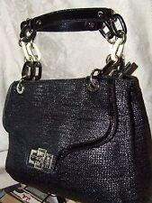Vintage Elaine Turner Large Satchel Shoulder Bag Black Woven Leather Zip Top