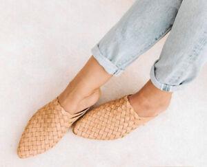 "LIBERTE Women's ""Praque"" Woven Basketweave Leather Mules Flat Slides  Size 38"