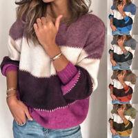 Damen Langarm Strick Pullover Rundhals Streifen Freizeit Warm Pulli Sweatshirt