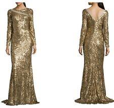 NEW BADGLEY MISCHKA GOLD SWIRL SEQUIN V-BACK EVENING GOWN LONG DRESS SZ 8