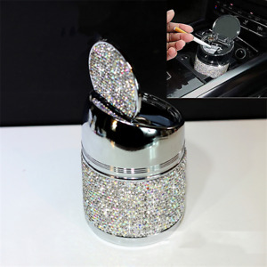 Crystal Diamonds Car Ashtray Portable Smokeless Stand Cylinder Cup Holder
