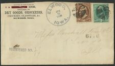 Elwood/Iowa 1883 registered cover