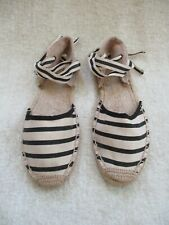 SOLUDOS Classic Ivory/Black Striped Ankle Tie Espadrille Sandals, Size 7