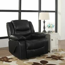 Recliner and Rocking Black Plush Over Stuffed Bonded Leather Comfy Chair