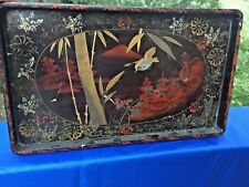 Vintage Chinese Foochow Shen Shao An Vanity Tray with Gold Bird In Bamboo ❤️j8
